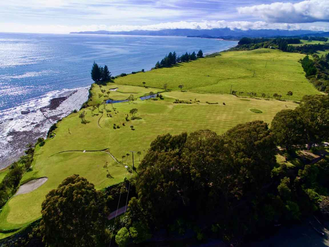 Onekaka Links Golf Club Aerial photo taken with a drone. In the region of Tasman, New Zealand.